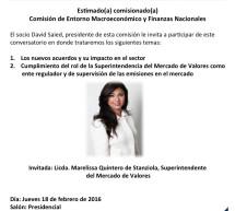 Conversatorio: Comisión de Macroeconómico y Finanzas Nacionales – Jueves 18 de febrero – 12:00 m.d.