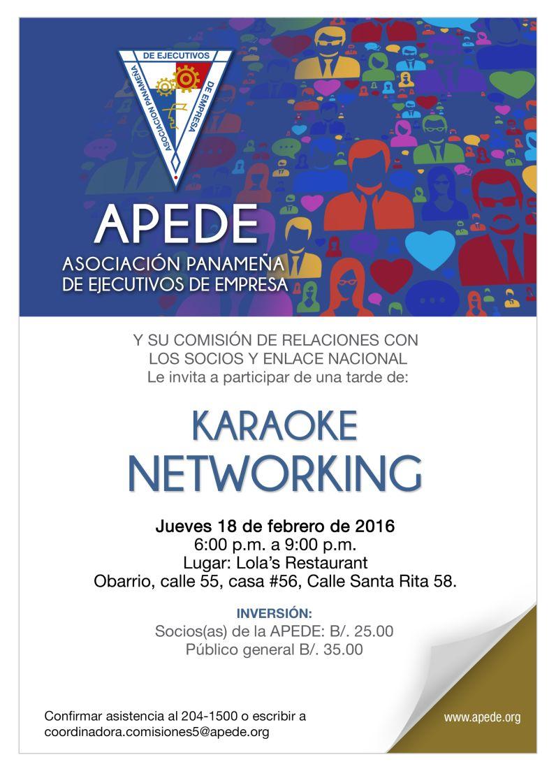 APEDE Jueves 18 6-9pm karaoke networking